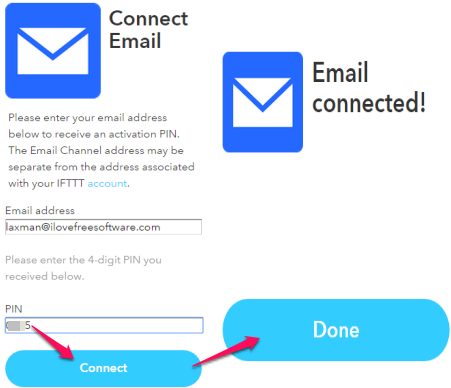 enter the PIN to connect your email address with IFTTT