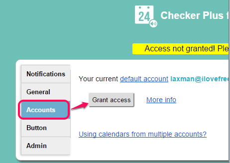 go to Accounts section to connect your Google account
