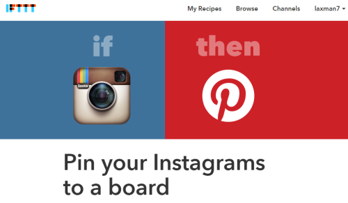 homepage of Pin your Instagrams to a board recipe