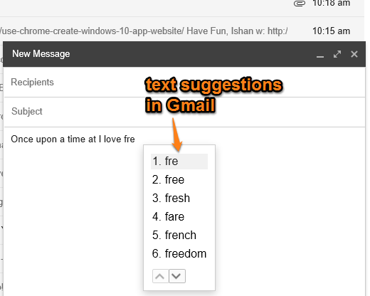 how to automatically complete text in Gmail