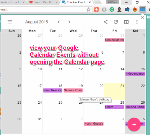 pop-up window to show Google Calendar events