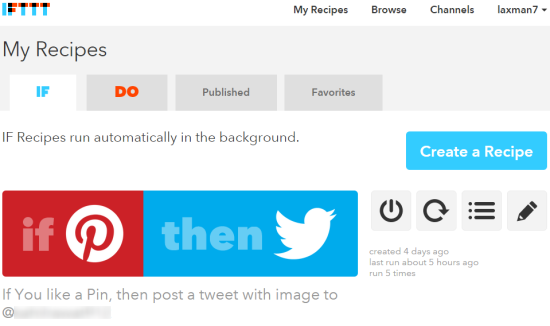 recipe to automatically tweet when you like a pin on Pinterest