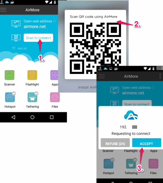 scan the barcode to connect with web interface