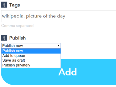 select Publish now option and add the recipe