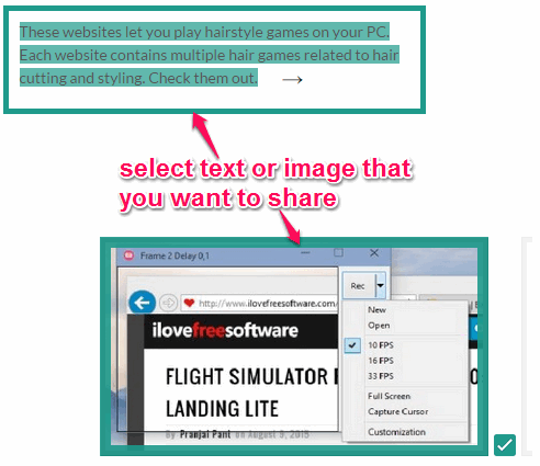 select webpage content for sharing