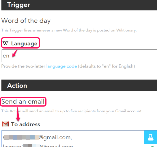 set the language and enter email addresses