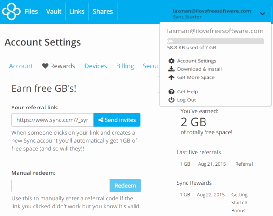 sign up to get 5 GB free space and earn more additional free space