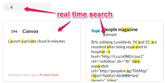 start the real time search