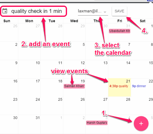 view events in pop up and add new events