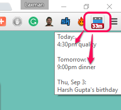 view list of coming events using its extension icon