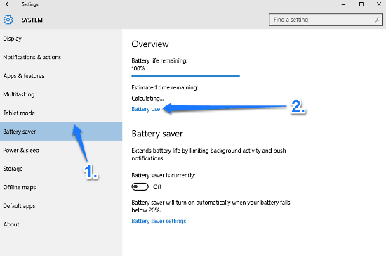 windows 10 battery usage details access