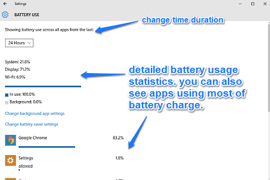 windows 10 battery usage info
