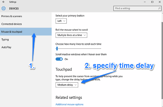windows 10 configure touchpad delay