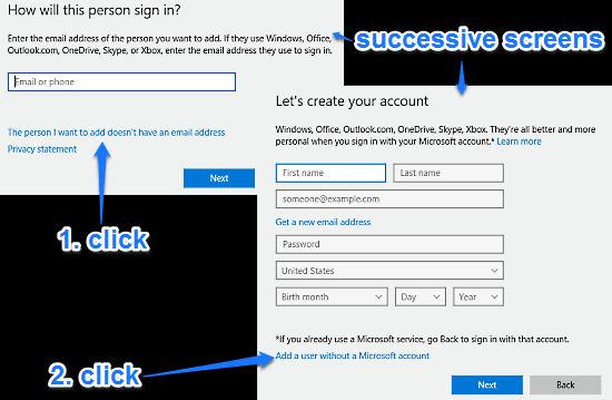 windows 10 initial account creation screens