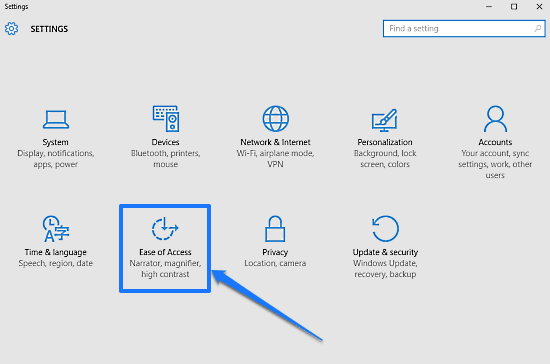 windows 10 modern settings ease of access