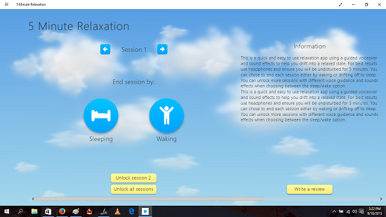 5 minute relaxation main screen