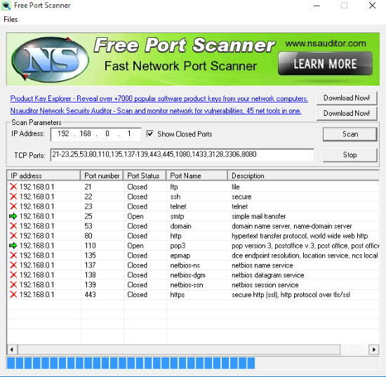 Free Port Scanner software- Interface