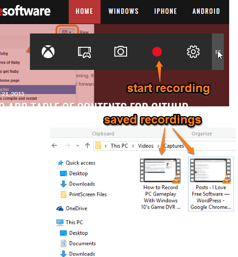 Game Bar feature to record desktop screen