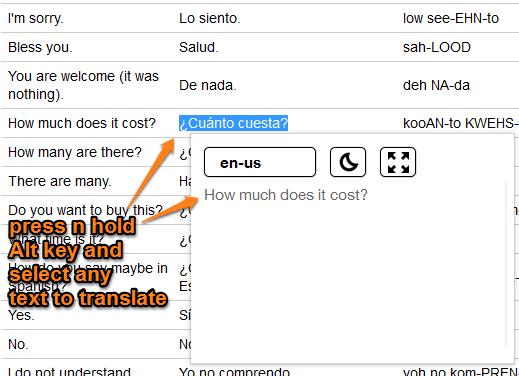 Google Selection Translate pop-up