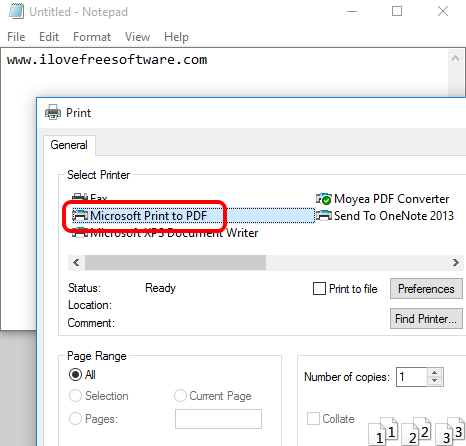 Microsoft Print to PDF built-in feature