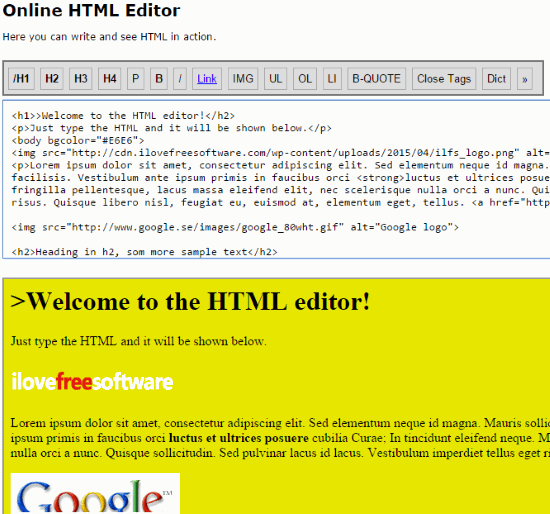 Online HTML Editor website homepage