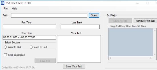 PSA Insert Text To SRT- interface