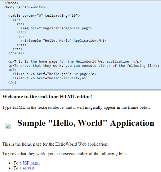 Real-time HTML Editor homepage
