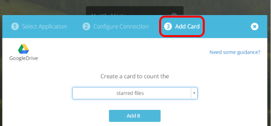 add a card for the connected service