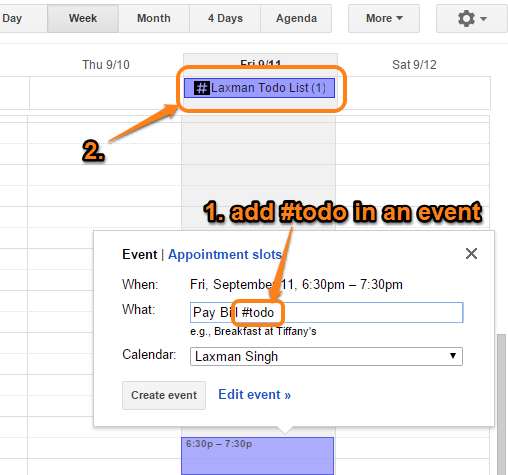 add #todo in an event to add the to-do item