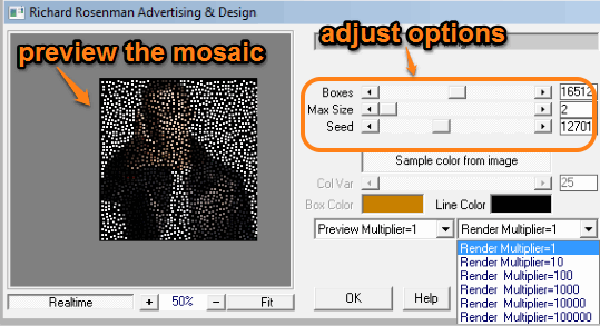 adjust options and preview the mosaic