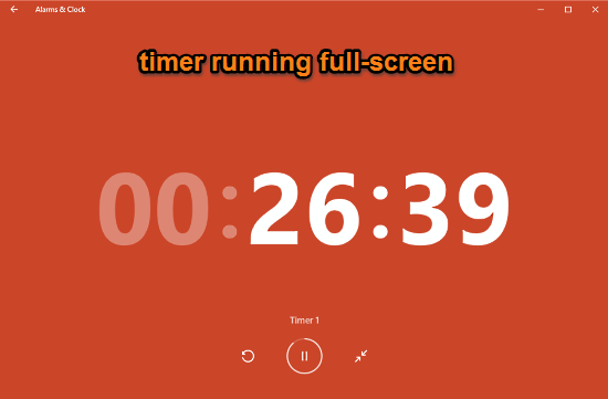 alarms and clock timer running full screen
