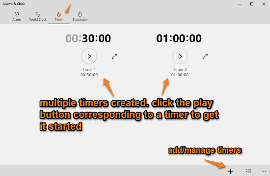 alarms and clock timers created