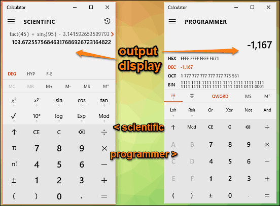 calculator scientific and programmer