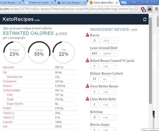 calorie calculator extensions chrome 3
