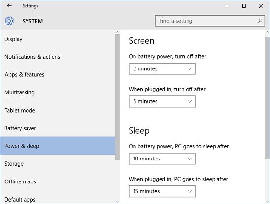 change power and sleep settings