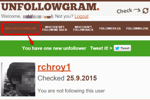 check who unfollowed you using Unfollowgram
