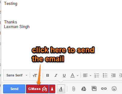 click GMass button to send the email