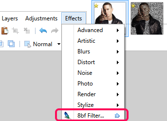click on 8bf Filter option
