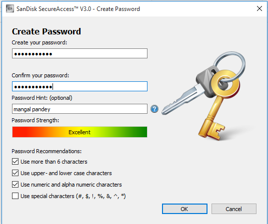 create a strong password for your vault