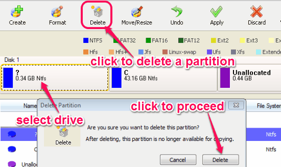 delete a partition