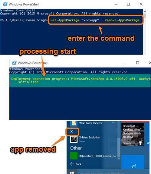 enter the command and execute to uninstall a built-in app