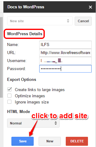 fill WordPress details to add your site