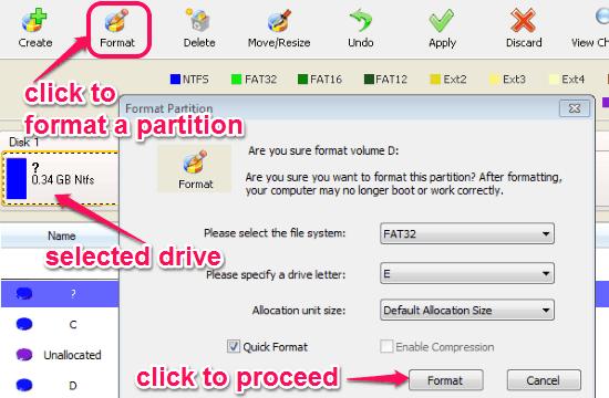 format a partition