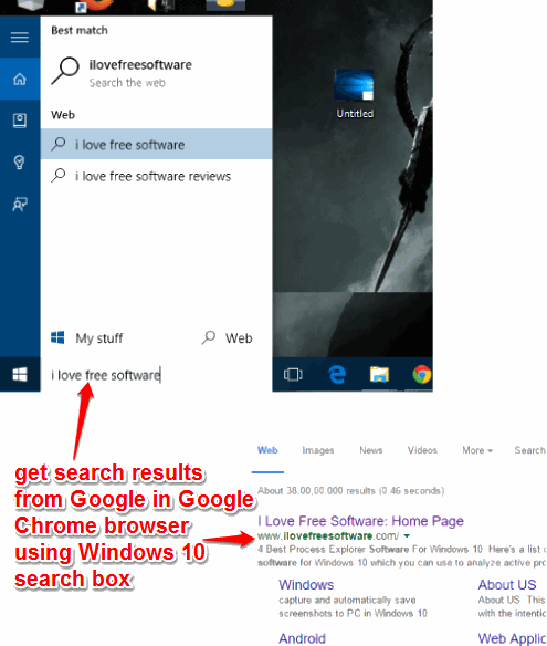 get search results from Google in Google Chrome browser using Windows 10 search box