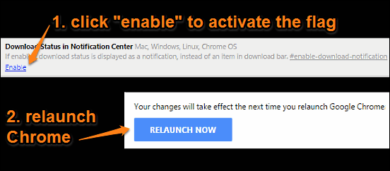 google chrome enable download status in notification center