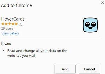 hovercards chrome adding