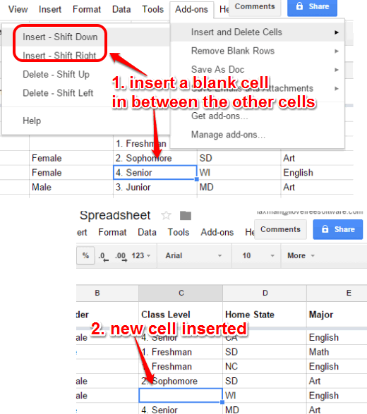 insert a new cell in between the other cells