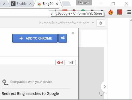 install Bing2Google Chrome extension