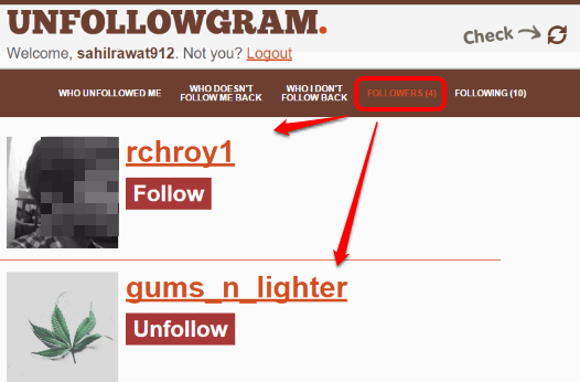 list of followers