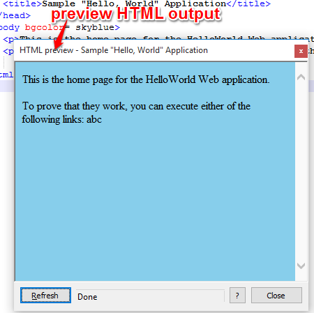 preview HTML output
